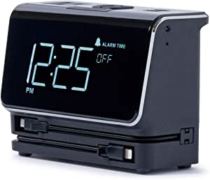 Kube Essentials Power Hub Alarm Clock Fast Charge Devices with Built in Cables for iPhone and Android Phones Tablets and Laptops