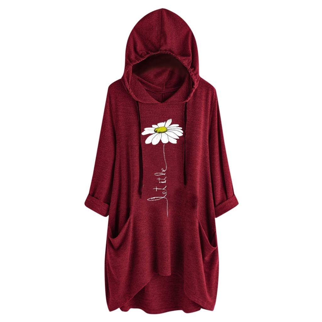 Tops Womens Hooded Blouse Girls Casual Cartoon Print Short Sleeve Pockets T Shirt Tunic for Girls Teens Wine by Sinzelimin