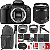 Canon EOS Rebel T7i Digital SLR Camera with EF-S 18-55mm f/4-5.6 IS STM Lens + 58mm Wide Angle Lens + 2X Telephoto Lens + 32GB SD Memory Card + UV Filter Kit + Monopod + Full Accessory Bundle