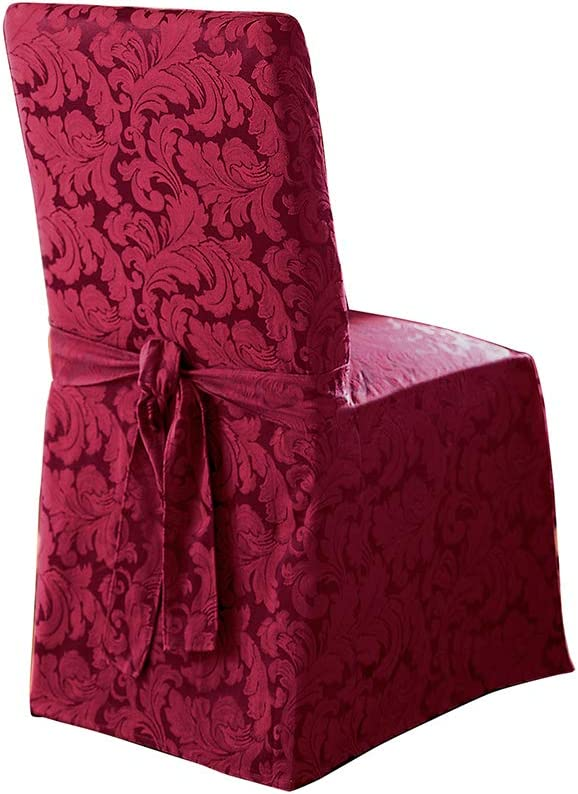 SureFit Home Décor SF35464 ScrollDining Chair Cover, Relaxed Fit, Cotton/Polyester, Machine Washable, One Piece, Burgundy Color