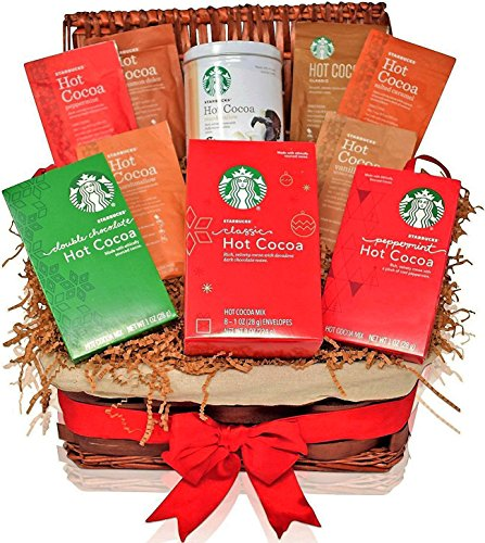 Starbucks Christmas Gift Baskets - HOT COCOA VARIETY - The Most Popular Holiday Flavors - Peppermint, Double Chocolate, Salted Caramel, Marshmallow