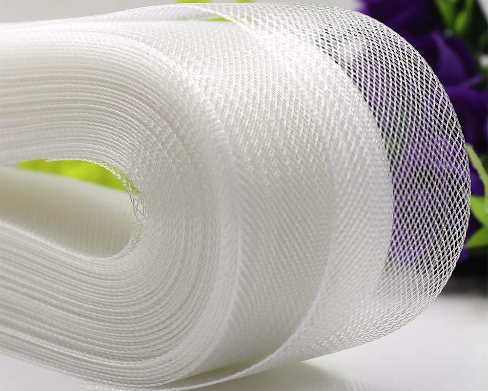Selling Per Roll// 50 Yards VIVIPA 2 inch Wide Polyester White Horsehair Braid