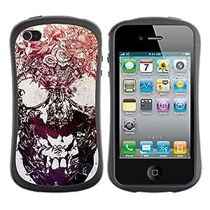 """Pulsar iFace Series Tpu silicona Carcasa Funda Case para Apple iPhone 4 / iPhone 4S , Tinta cráneo Flores florales metal tatuaje"""""""