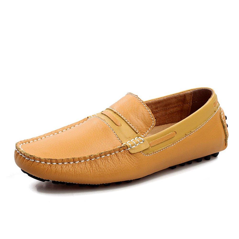 AFCITY Herren Soft Leder Breathable Freizeitschuhe Braun Blau Braun Freizeitschuhe Personalisierte Schuhe Mokassins Klassischer Stiefelschuh Braun f73702