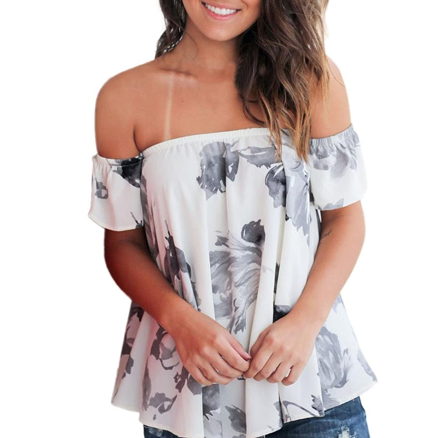 Amazon.com: DondPO Ladies Womens Sexy Short Sleeve Off Shoulder Floral Printed Blouse Casual Tops T-Shirt Clearance Loose Blouse Summer Shirts Tops Tee: ...