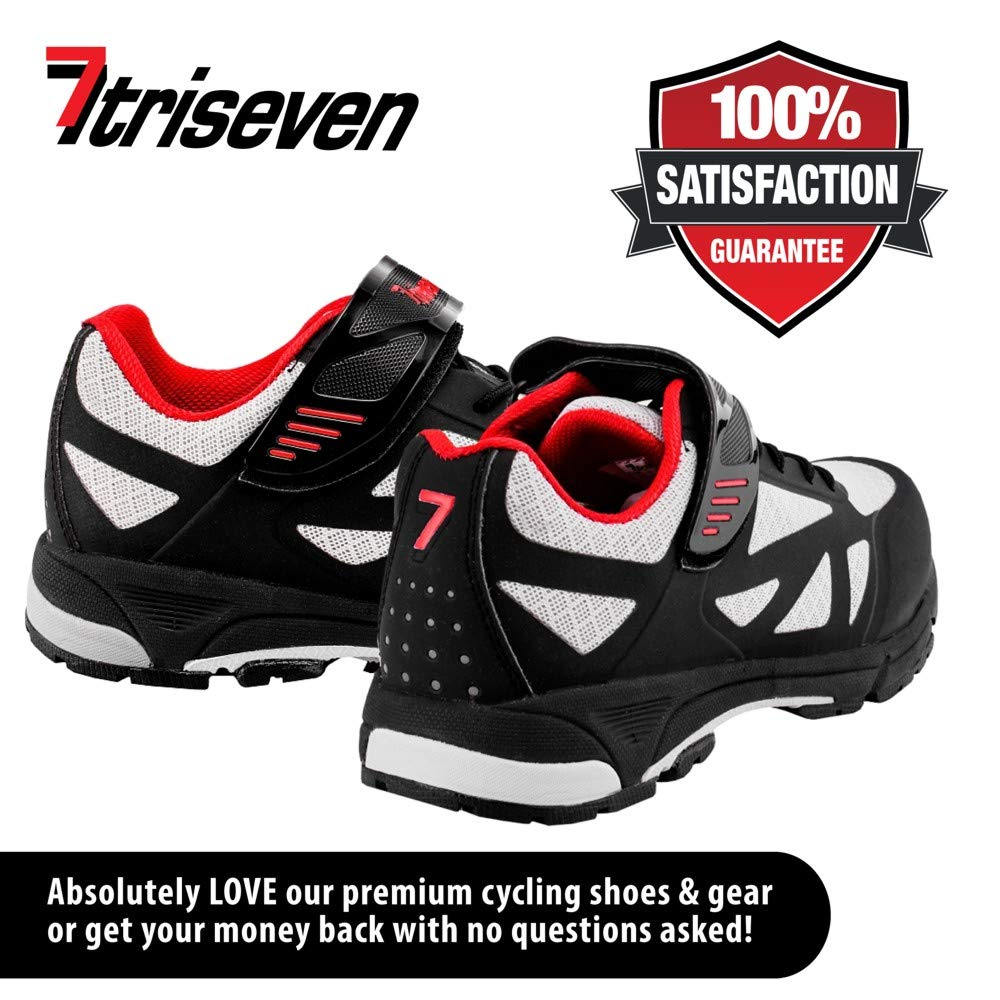 TriSeven Mountain MTB Shoes - Lightweight, Breathable Synthetic Leather, Anti-Slip Heal & SPD/Indoor Cycling Compatible! (39) Blue