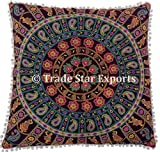 26 x 26 Euro Pillow Sham Decorative Mandala Cushion Cover, Large Meditation Pillow, Ethnic Cotton Cushion (Pattern 16)
