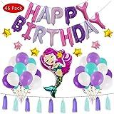 Amycute 46 Pack Mermaid Balloons Birthday Party Supplies,Mermaid Happy Birthday Banner, Tassels, Ribbon, Baby Showers Birthday Party Supplies Decorations(Pink)