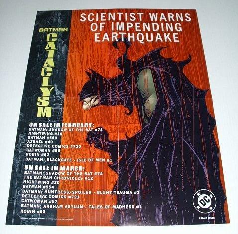 Dc Comics 1998 Batman poster! Red Blood Rain Cataclysm factory folded Dc Comics Batman