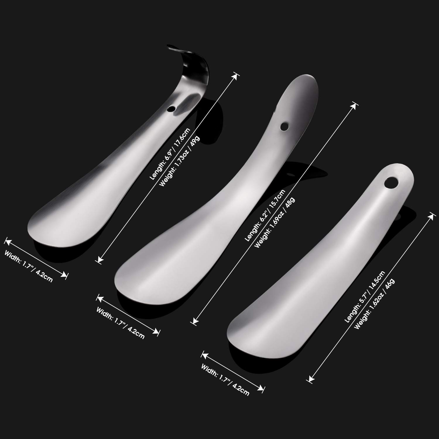 5.7//6//7inch Shoe Horn-Top Quality Metal Shoe Helper Travel Shoehorn pack of 3