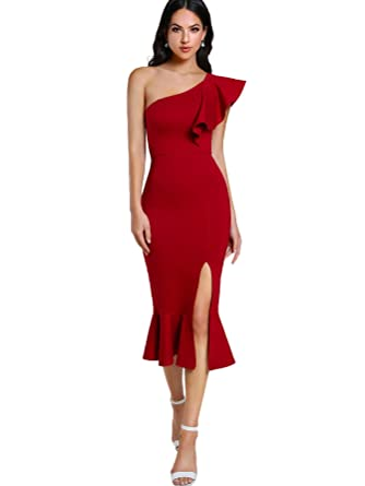 4f18a8fcee95 Floerns Women s Ruffle One Shoulder Split Midi Party Bodycon Dress Red XS