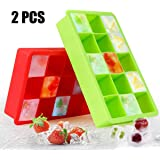 Ice Cube Trays, AODOOR Ice Cube Molds Silicone, Flexible Ice Tray BPA Free for Whiskey, Cocktail, Beverages (Pack of 2)