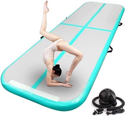 AKSPORT Gymnastics Air Roller Air Block Air Spot Air Mat Set Tumble Track Tumbling Mat Inflatable Floor Mats with Electric Air Pump