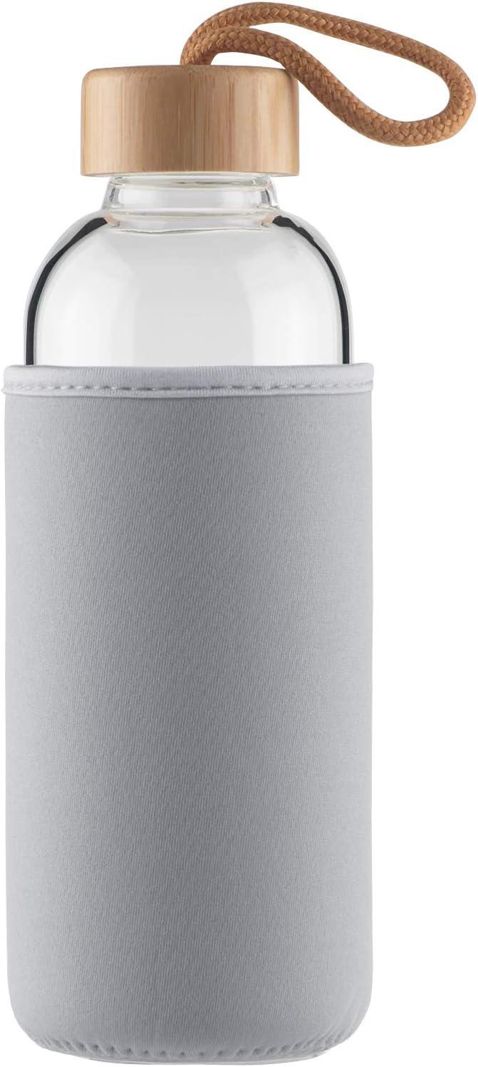 Cleesmil Botella de Agua de Cristal 500 ml / 750 ml Botella de Agua de Vidrio Deportiva con Funda de Neopreno y Tapa de Bambú sin BPA