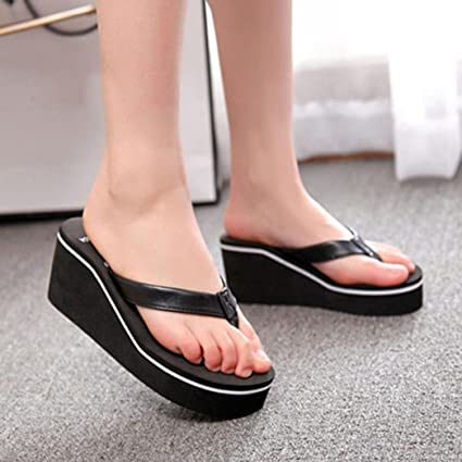 cfacaf7bee57a Gotd Women Slim Strap Flip Flop Bohemian Muffin Slope Wedge Heels Sandals  Slide Platform Thongs Slipper