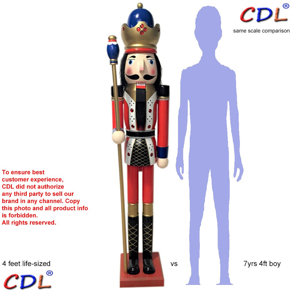 CDL 48'' 4ft tall life-size large/giant red Christmas wooden nutcracker king ornament on stand holds golden scepter for indoor outdoor Xmas/event/ceremonies/commercial decoration(4 feet, king red k11) by ECOM-CDL (Image #1)