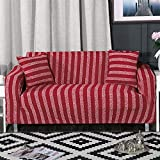 ONCEFIRST 1 Piece Knit Stretch Striped Sofa Slipcover for Armchair Loveseat Sofa Couch Red Big Sofa(92''-122'')