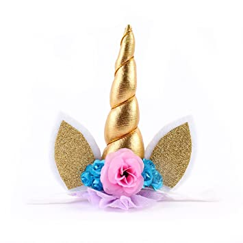 Amazon.com   Glitter Metallic Unicorn Horn with Chiffon Flowers Hair Hoop  Party For Kids Headband Accessories (Gold)   Beauty 2eb2c0643a6