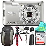 Nikon COOLPIX S3700 Waterproof Digital Camera (White) Prime Seller ESSENTIAL BUNDLE!
