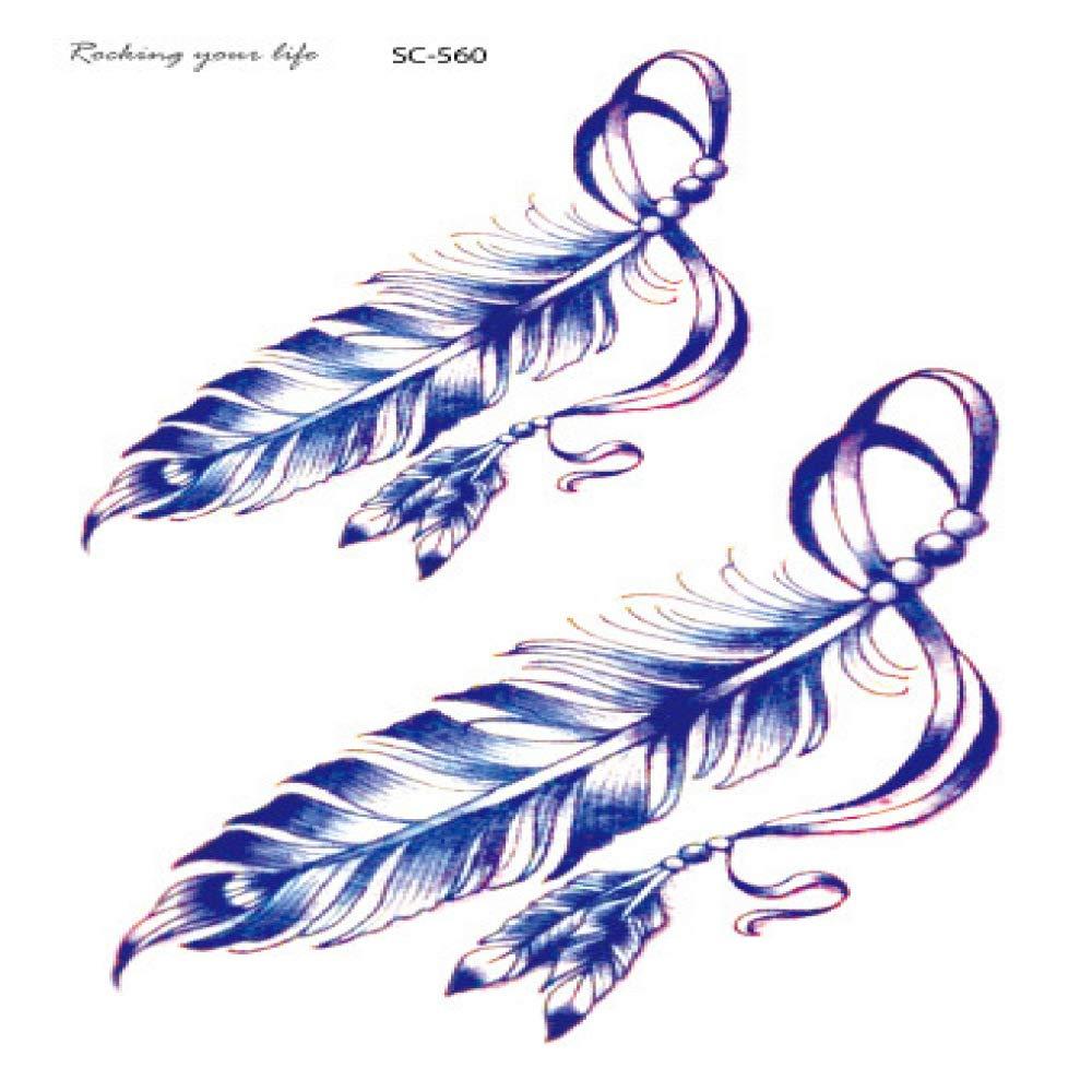 Tatuaje realista a prueba de agua pegatina color pluma diente de ...