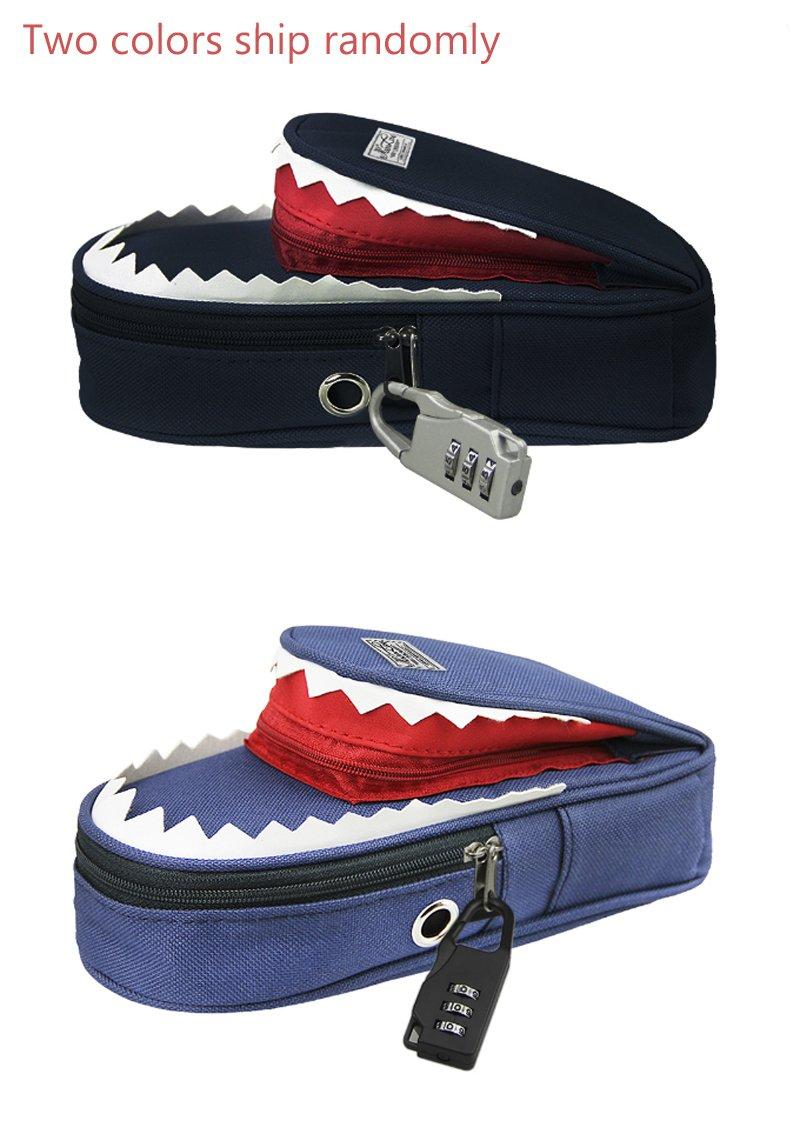Diseño de tiburón 3d estuche con cerradura de combinación cosméticos maquillaje bolígrafo cepillo funda soporte, gran capacidad, estudiante papelería bolsa ...