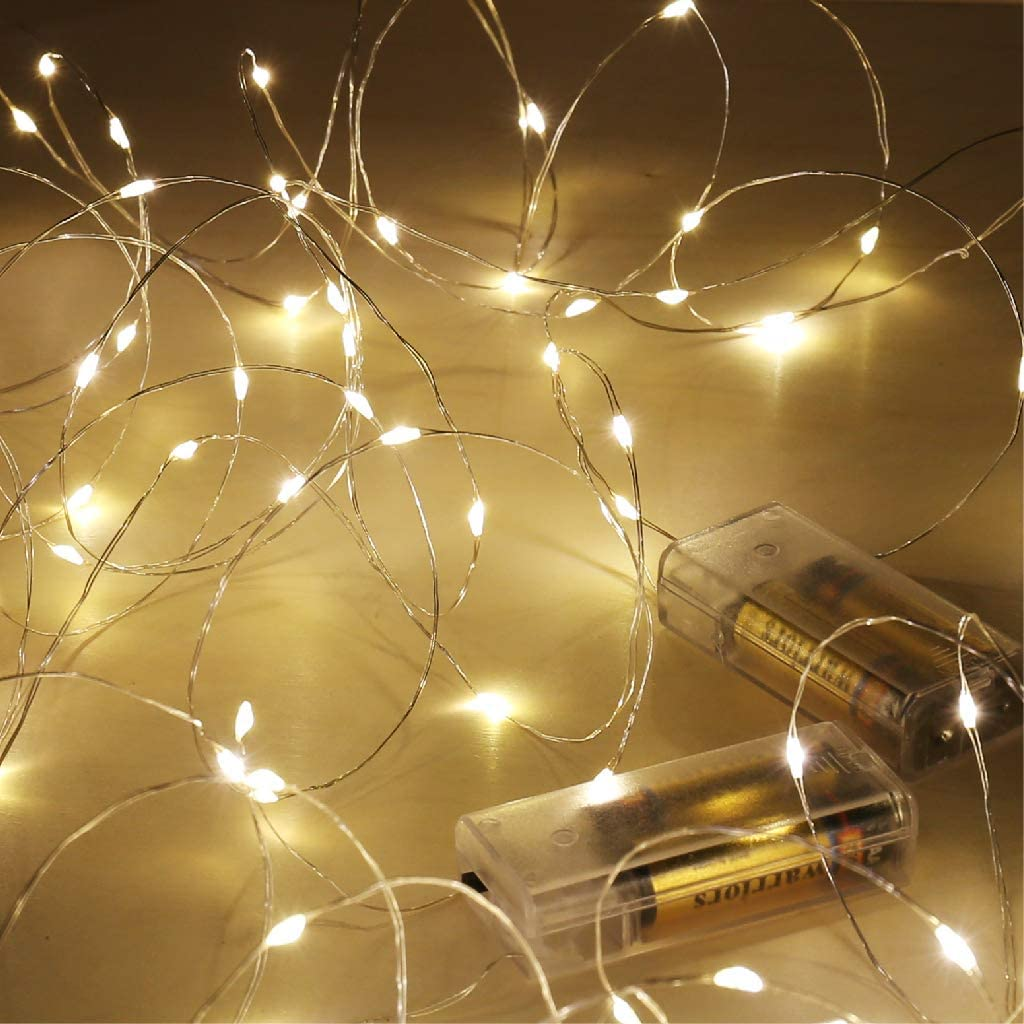 Fairy Lights Battery Operated, Warm White 16.5Ft 50 LED Battery Powered Fairy Light, SINAMER 2 Pack Waterproof Copper Wire Battry String Lights Used for Wedding, Bedroom Decor, Chrismas, Wall, Garden