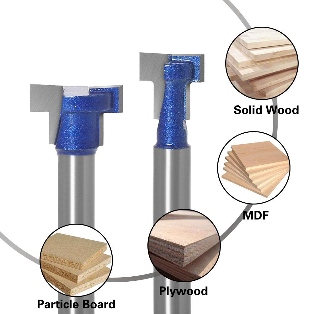 6MM Shank Keyhole Router Bit Set 7//16 /& 5//8 Inch Blade Diameter Woodworking Tool ASeawave T Slot Router Bit Pack of 2