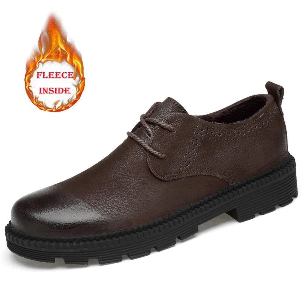 2018 Männer Business Oxford Casual Leder Arbeitskleidung Rundkopf Dicker Boden Regelmäßige Baumwolle Warm Formale Schuhe (Farbe   Warm braun, Größe   38 EU) ( Farbe   Warm braun , Größe   45 EU )