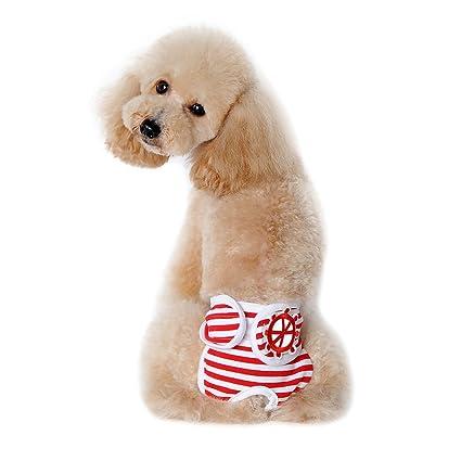 Braguitas menstruales a rayas de algodón para perros Pantalones fisiológicos