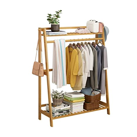 Amazon.com: Perchero de bambú para suelo, estante de bambú ...