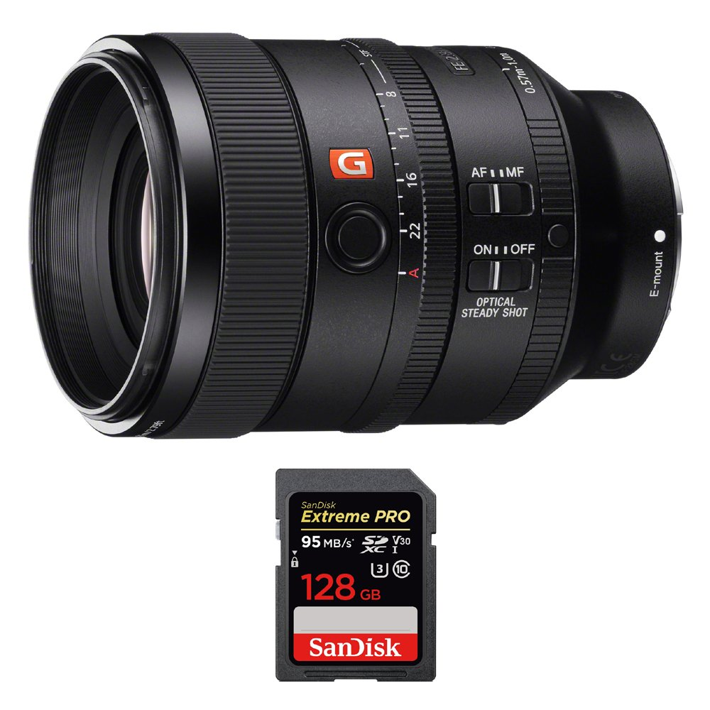 Sony (SEL100F28GM) FE 100mm F2.8 STF GM OSS Lens for Sony Full-Frame E-mount Cameras w/ Sandisk Extreme PRO SDXC 128GB UHS-1 Memory Card by Beach Camera