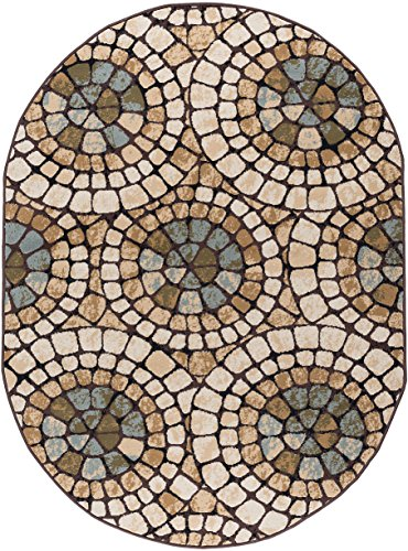 - Carlos Transitional Mosaic Multi-Color Oval Area Rug, 5' x 7' Oval