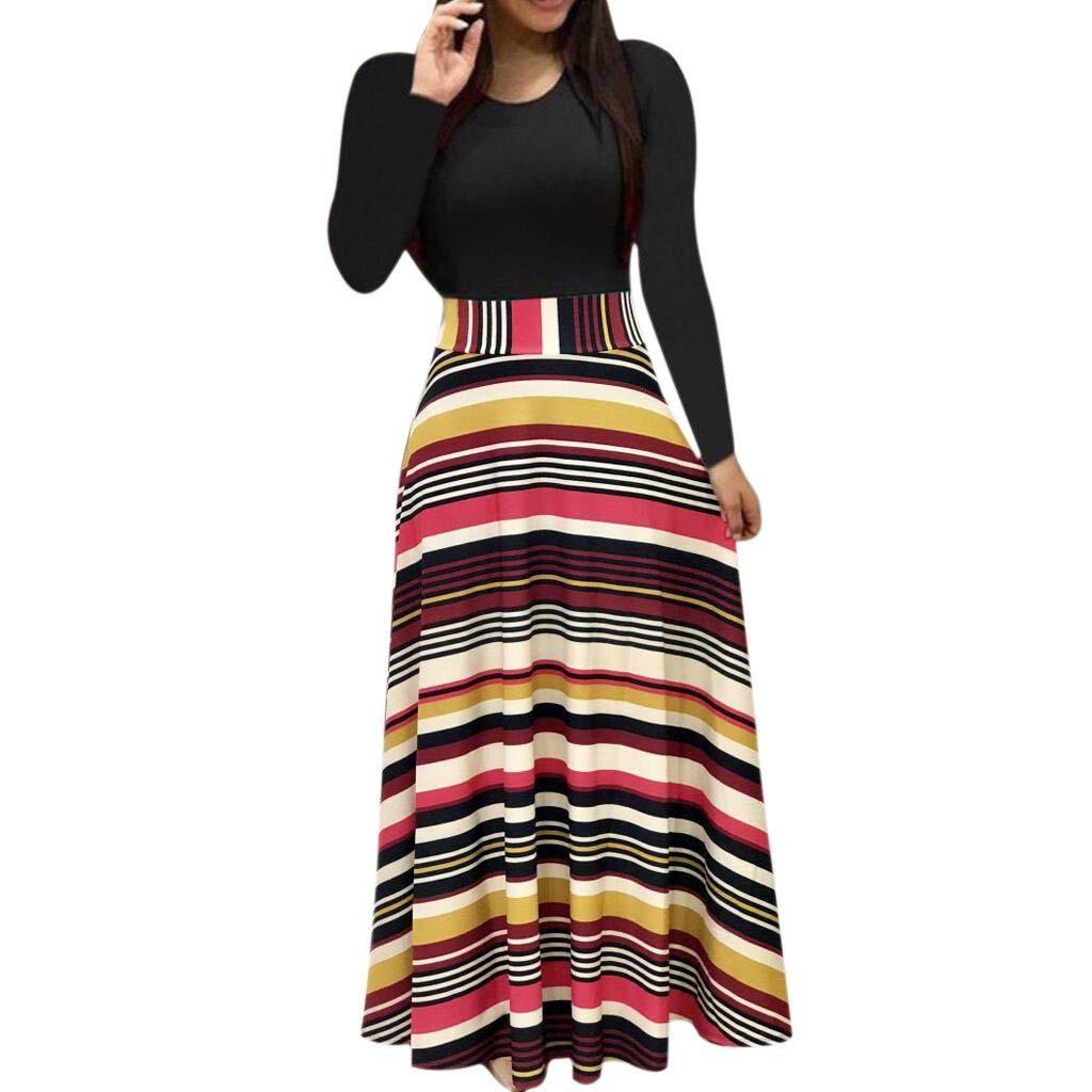Moginp Fashion Elegant Dresses Women Long Sleeve Floral Boho Print Long Maxi Dress Ladies Casual Dress