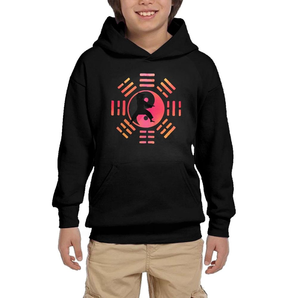 Youth Black Hoodie Kung Fu Tai Chi Eight Trigrams Hoody Pullover Sweatshirt Pocket Pullover For Girls Boys S by Hapli