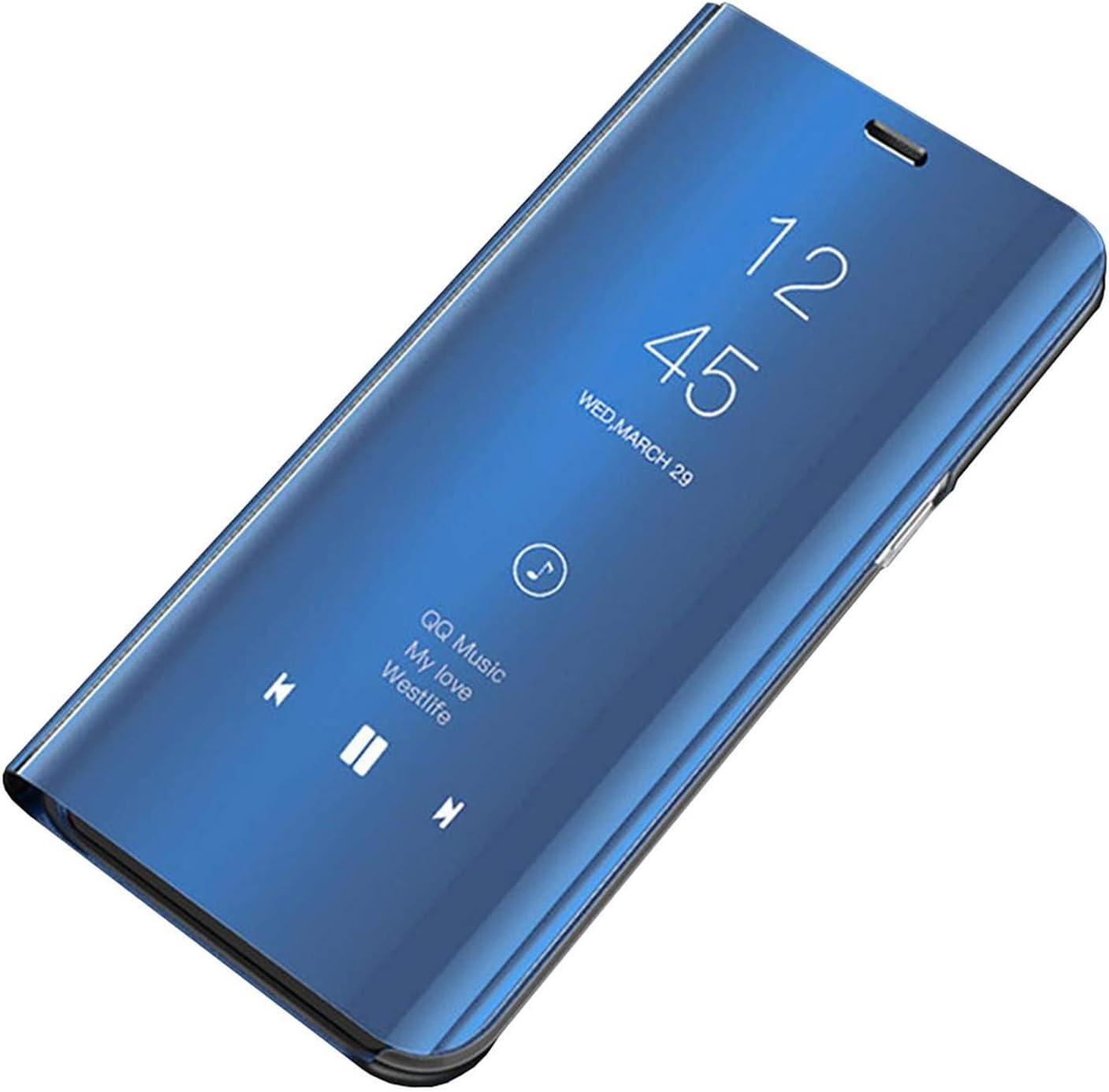 Carcasa Samsung Galaxy S9 Plus Funda Case Mirror Funda Flip Tapa Libro Carcasa Funda de Espejo Flip Caso tirón del Duro Espejo Soporte Teléfono móvil Shell Cover para Galaxy S9 Plus (Azul,