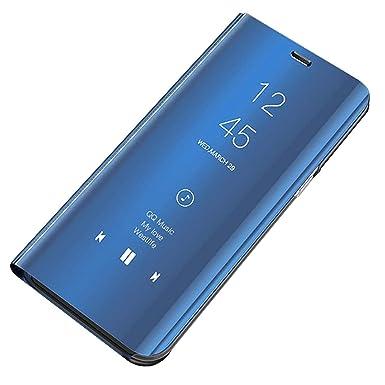 Carcasa Galaxy A7 2018 Funda Case Mirror Funda Flip Tapa Libro Carcasa Funda de Espejo Flip Caso Galaxy A9 2018 Duro Espejo Soporte Shell Cover para ...