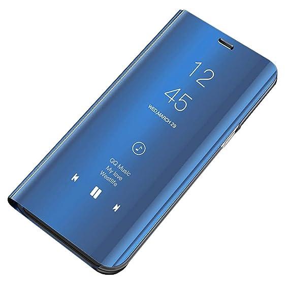 Carcasa Huawei P30 Funda Case Mirror Funda Flip Tapa Libro Carcasa Funda de Espejo Flip Caso Huawei P30 Lite Duro Espejo Soporte Shell Cover Huawei ...