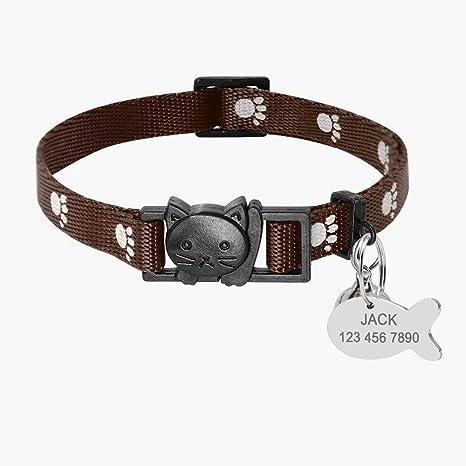 Didog - Collares para Gatos con Etiquetas de identificación Personalizadas, Cierre rápido, Hebilla para