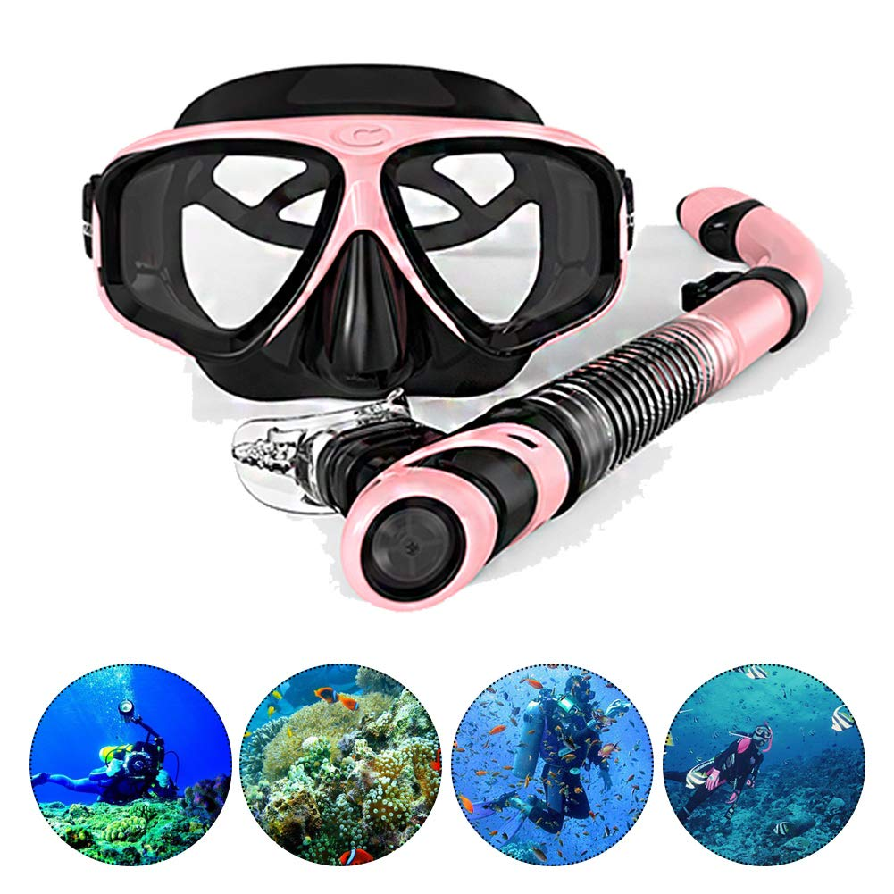 DIVINGWANG Snorkeling and Diving Mask,Free Diving Tempered Glass Goggles and Snorkel Tube,Dry Snorkel Mask Set Snorkeling Gear for Adults/Youth,Pink by DIVINGWANG