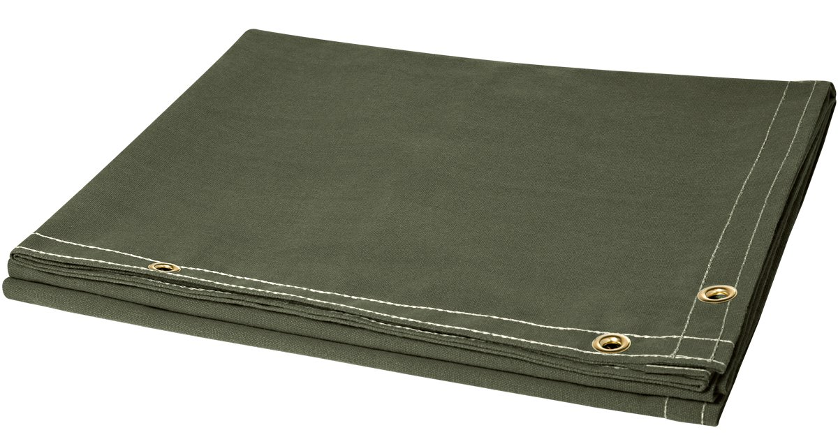 Steiner 301-6X10 12-Ounce Flame Retardant Opaque Olive Green Canvas Duck Welding Curtain, Olive Green, 6' x 10' 6' x 10' ERB