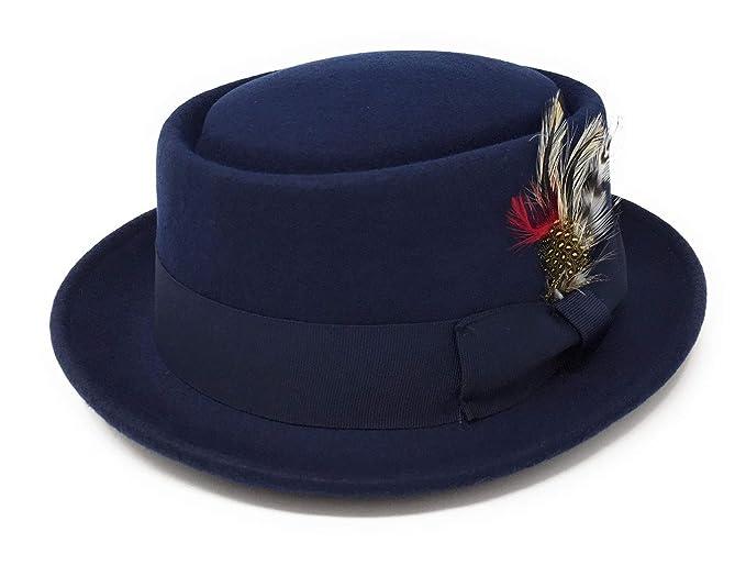 Sombrero Pork Pie con pluma extraíble Azul marino ad5f31a452e