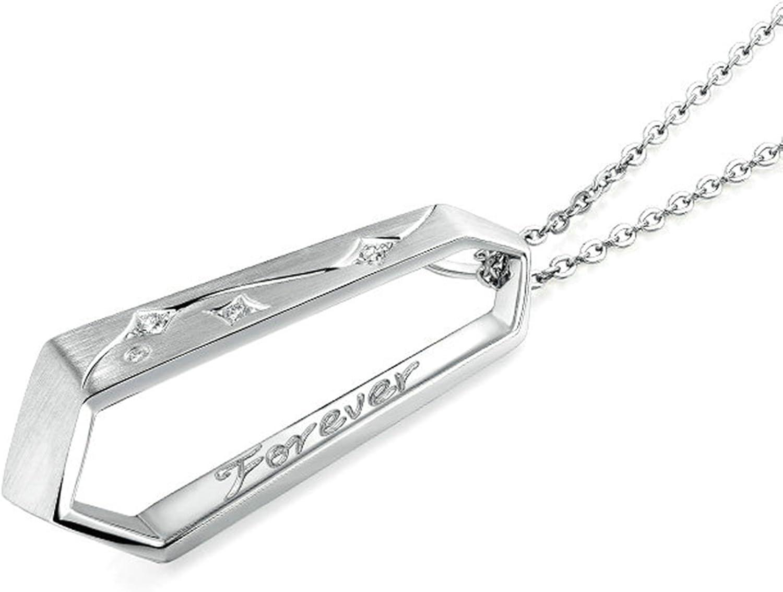 Epinki Platinum Plated Womens Girls Pendant Necklace Irregular Cubic Zirconia White Gold