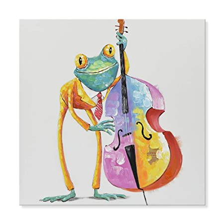 SEVEN WALL ARTS – 100 Hand Painted Oil Painting Cute Animal Frog Painting for Living Room Kids Room Decor 32 x 32 Inch, Frog Cellist