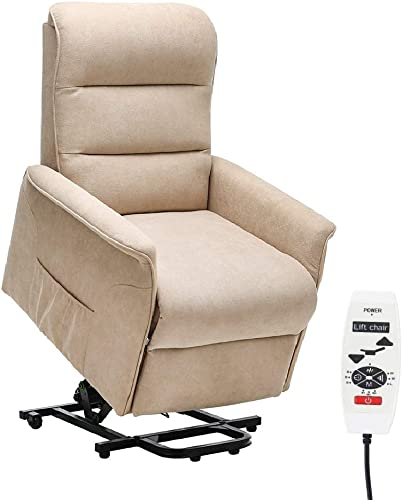 Danxee Power Lift Chair Recliner Massage Heated Reclining Sofa Chair for Elderly Home Living Room Furniture Single Lounger Seating Electric Fabric Upholstered Chair with Remote Control Beige