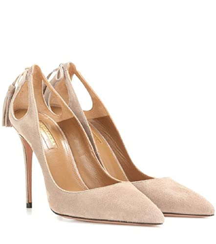 6de13bee76bf7 Aquazzura Forever Marilyn Nude Suede Pumps (36.5)