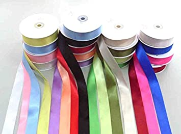 22 Metre 1M Lengths Satin Ribbon Quality Roll 10mm Gift Wrapping Decoration UK