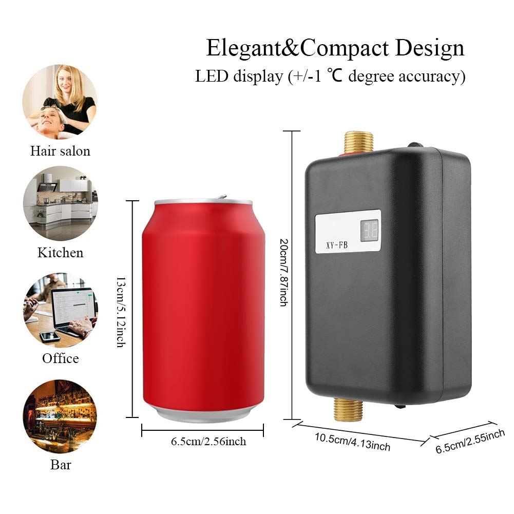 3000W Mini Electric Tankless Instant Hot Water Heater with LCD Display for Home Bathroom Kitchen Washing US Plug 110V (Black) by Garosa (Image #6)