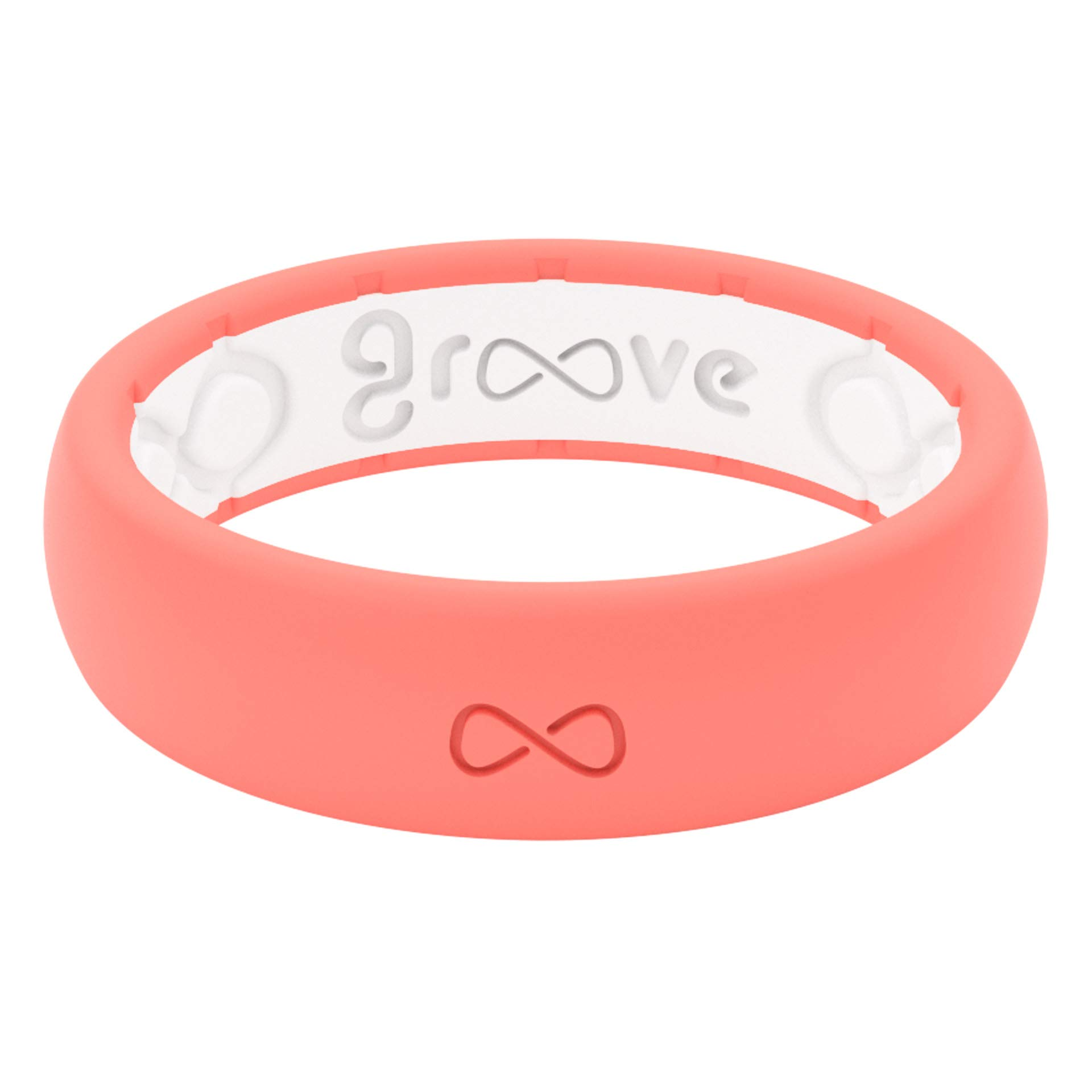 Groove Life - Silicone Ring for Men and for Women Wedding or Engagement Functional Rubber Band with, Breathable Grooves, Comfort Fit, and Durability - Thin Solid Coral Size 4