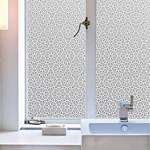 Jahoot Frosted Privacy Window Film, Glass Door Tint Non-Adhesive Static Clings for Home Office Decoration, Anti-UV, Heat Control and Prevent Bird Strikes 35.4×157.4 Inches, Snowflakes