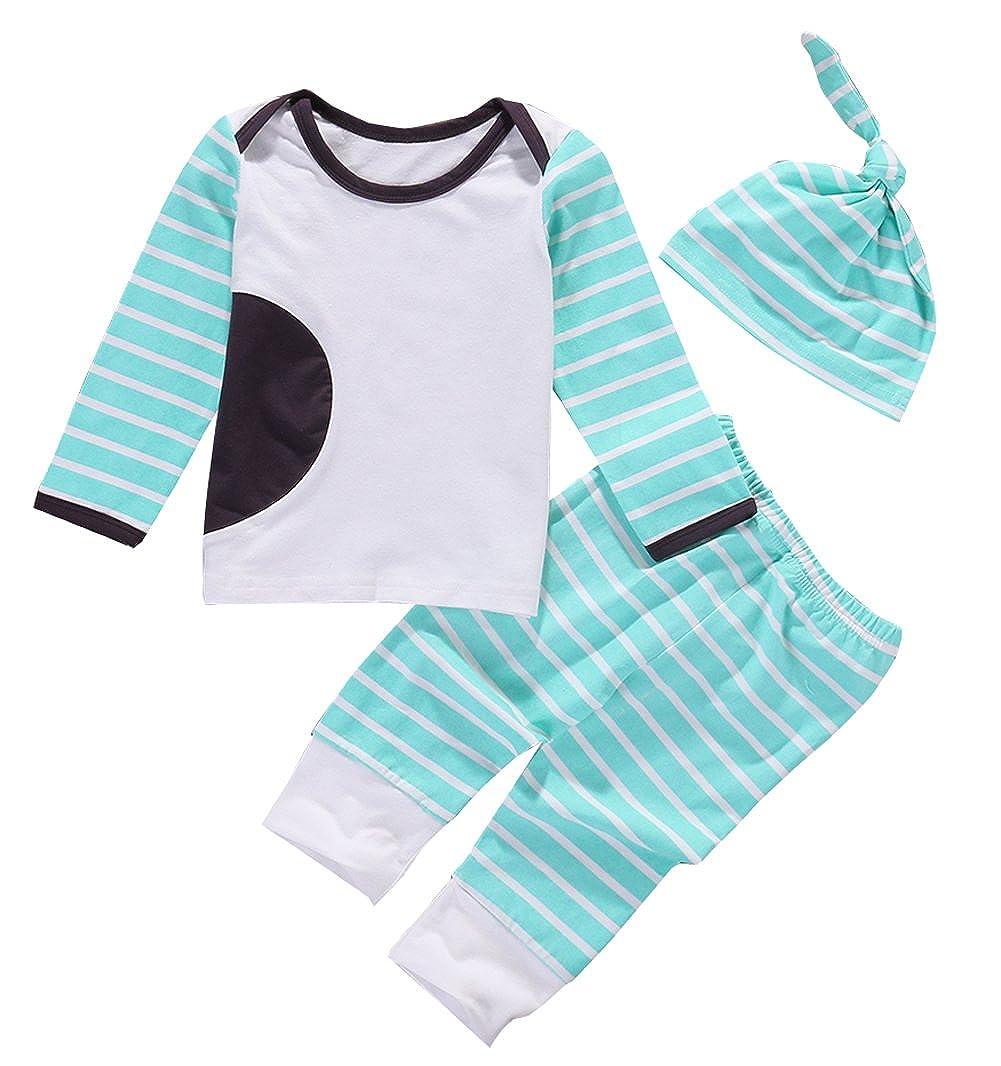贅沢品 新生児赤ちゃん男の子女の子ミントグリーンストライプGoing 6 Home outfitshirt、レギンス B01M27K2QI、ノット帽子3点パジャマセット 6 - 12 Months - B01M27K2QI, ヨシイマチ:e968b900 --- a0267596.xsph.ru